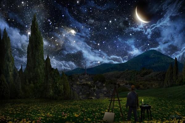 """Van Gogh cuando pintó """"Noche estrellada"""""""