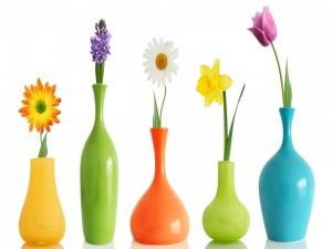 Postal: Una flor en cada jarrón