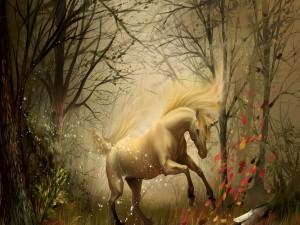 Postal: Unicornio blanco