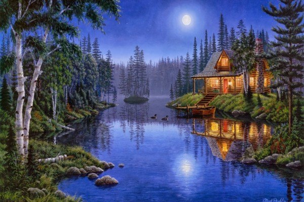 """Moonlight Serenade"", pintura de Mark Daehlin"
