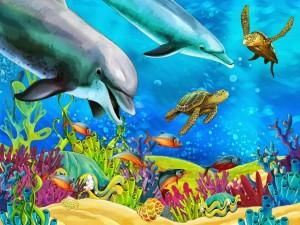 Fondo del océano con peces de colores, corales y arrecifes