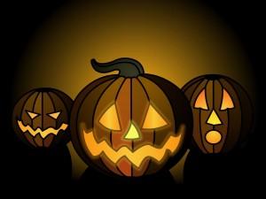 Tres calabazas en Halloween