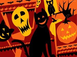 Postal: Gatos y otras criaturas en Halloween