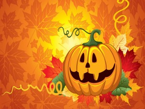 Postal: Calabaza de Halloween y hojas otoñales
