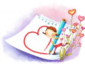 Postal: Dibujando un corazón