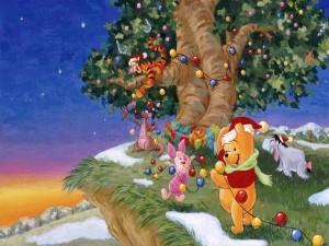 Postal: Winnie y sus amigos festejando la Navidad