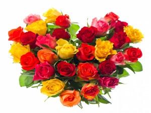 Arreglo floral con forma de corazón