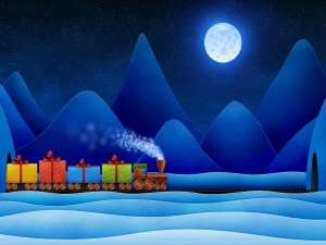Tren con regalos de Navidad