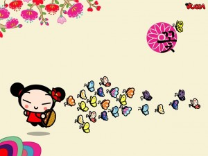Pucca y muchas mariposas