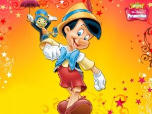 Postal: Pinocho y Pepito Grillo