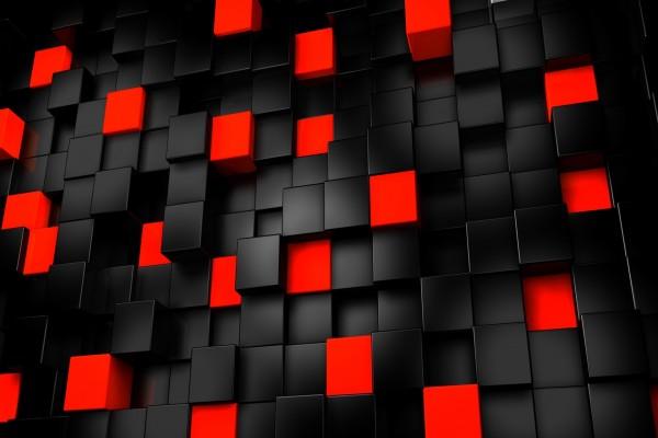 Cubos negros y rojos
