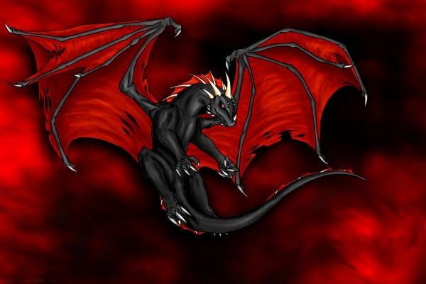 Dragón negro de alas rojas