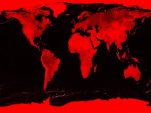 Postal: Mapamundi en rojo y negro