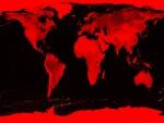 Mapamundi en rojo y negro