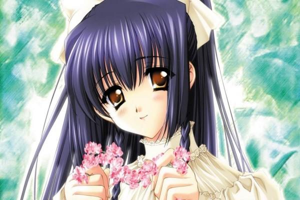 Muchacha con una guirnalda de flores