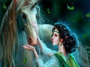 Elfa y unicornio