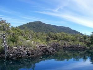 Postal: Escorial volcánico, lago Huechulafquen