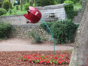 Postal: Tulipán en un jardín