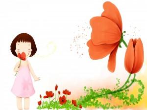 Postal: Niña jugando con las flores