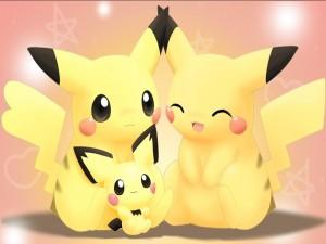 Postal: Familia Pikachu