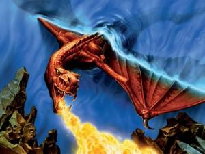 Postal: Dragón arrojando fuego