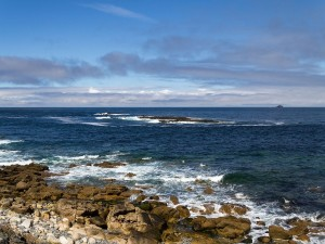 Camino costero con rocas