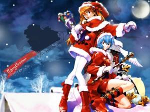 Postal: Chicas manga felicitando la Navidad