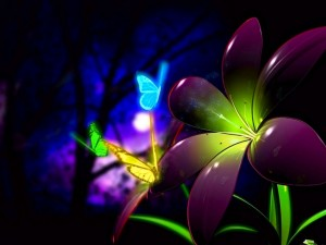 Postal: Mariposas luminosas en una flor