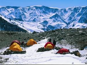 Postal: Campamento en el Aconcagua (Argentina)