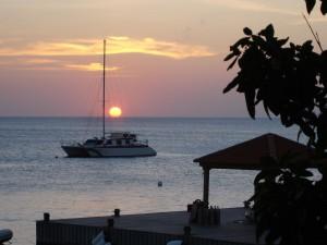 Postal: Puesta de sol en Bonaire, Antillas Holandesas (Caribe Sur)