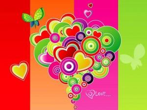 Postal: San Valentín colorido