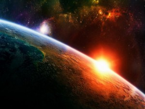 La salida del sol desde el espacio
