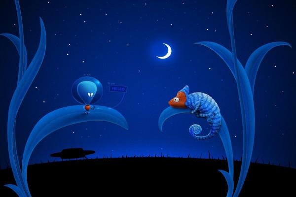 Un extraterrestre y un camaleón