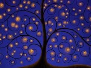 Postal: Árbol con luces doradas