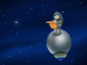 Postal: Astronauta mirando su mapa