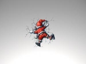 Postal: Papá Noel aplastado en la pared
