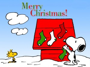 Postal: Merry Christmas con Snoopy