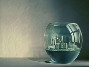 Ciudad dentro de una pecera
