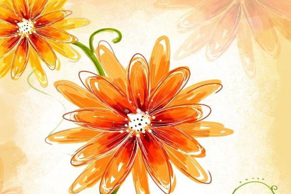 Dibujo de flores naranjas