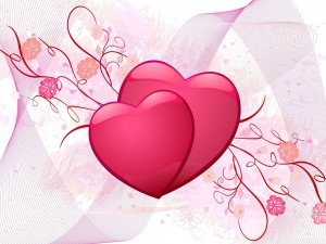 Postal: Dos corazones rosas