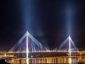 Postal: Puente de la isla Russki en Vladivostok