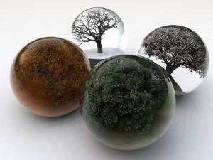 Postal: Esferas cuatro estaciones