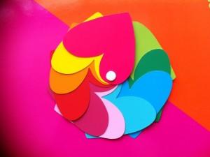 Postal: Corazones de colores