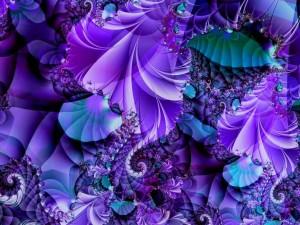 Postal: Fractal azul y violeta