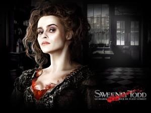 """Postal: Helena Bonham Carter en la película """"Sweeney Todd, el barbero diabólico de la calle Fleet"""""""
