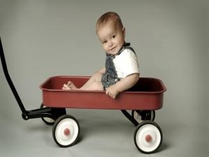 Postal: Bebé en una carretilla