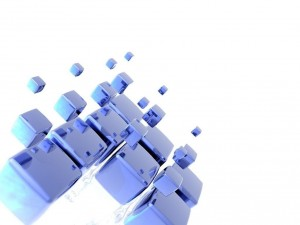 Postal: Cubos azules