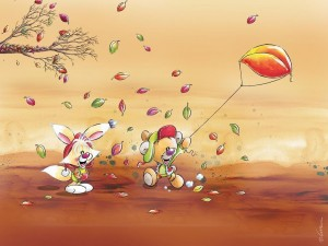 Postal: Pimboli y Mimihopps, amigos de Diddl