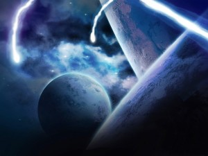 Postal: Planetas azules
