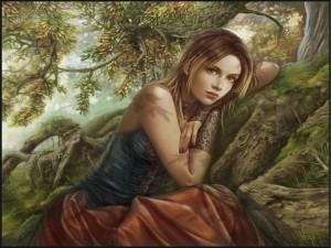 Postal: Muchacha en el bosque